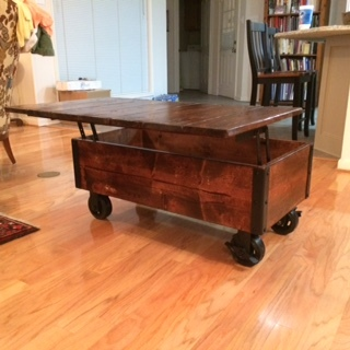 DIY Coffee Table with Casters Top Open