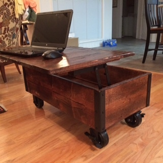 DIY Coffee Table with Casters In Use
