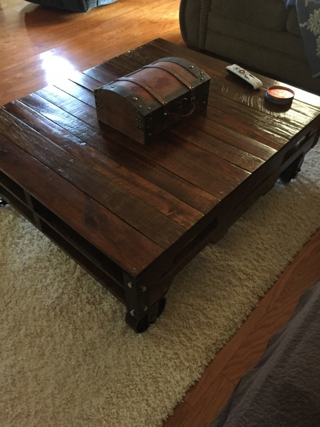 Square Wood Coffee Table with Casters