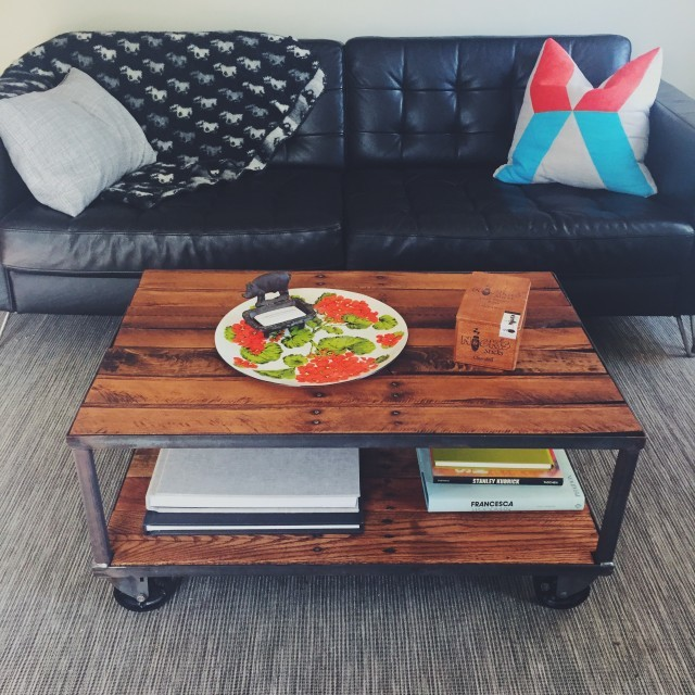 Reclaimed Wood Coffee Table with Casters in Use