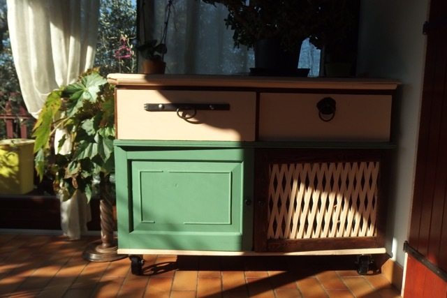 Sun room dresser with casters
