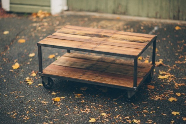 Reclaimed Wood Coffee Table with Casters