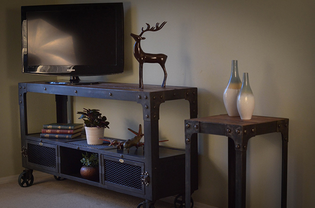 Custom Industrial Media Cabinet with Matching Table