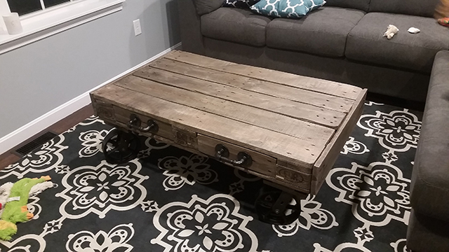 Repurposed Wood Coffee Table with Casters