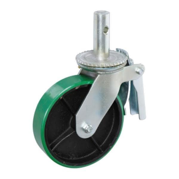 round stem - poly on iron caster