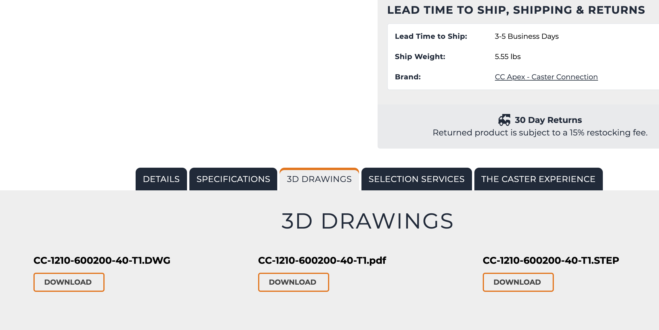 Caster 3D Drawings Tab