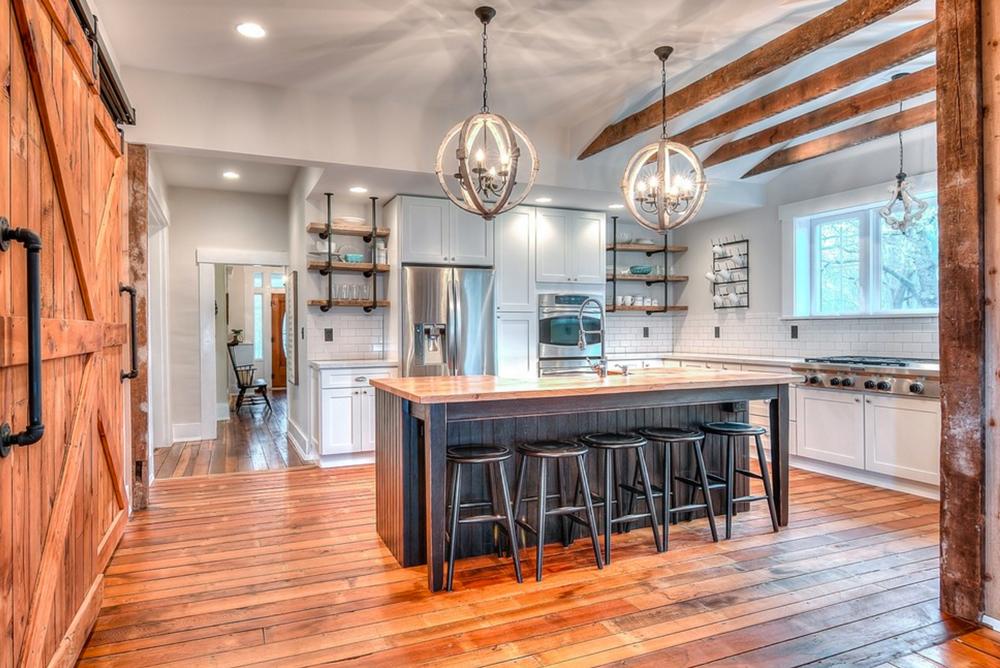 Kitchen-With-Barn-Door-Pipe-Shelving