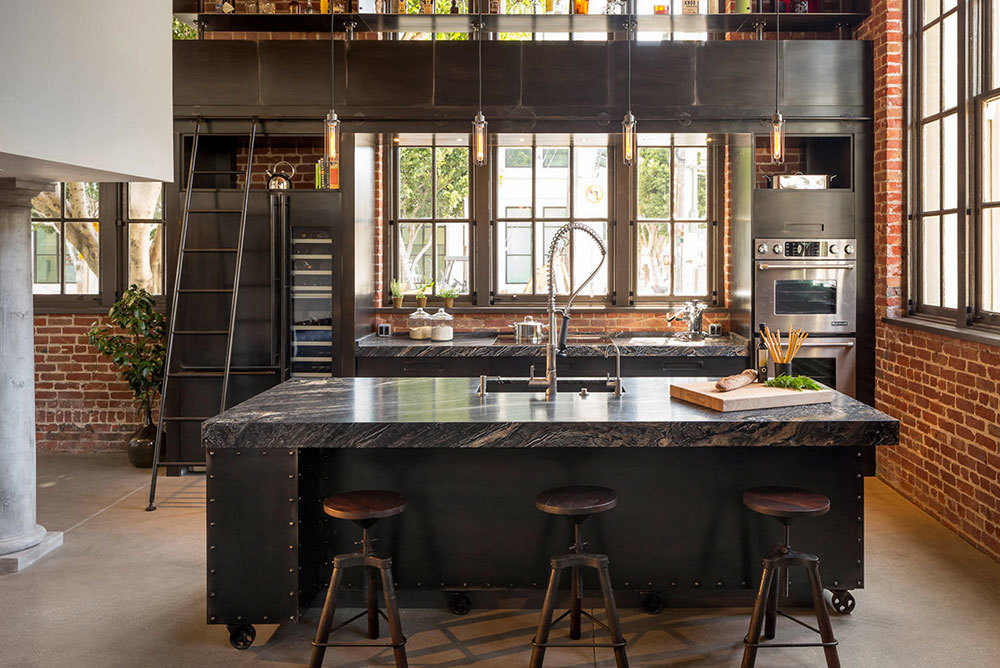 Vintage-Industrial-Kitchen-Island-With-Cast-Iron-Casters