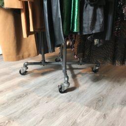 SQ CU Retail Industrial Pipe Garment Rack 3 Inch Vintage Polyurethane Tread Swivel Caster 17