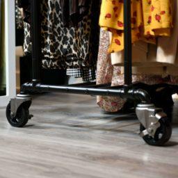 SQ CU Retail Industrial Pipe Garment Rack 3 Inch Vintage Polyurethane Tread Swivel Caster 9