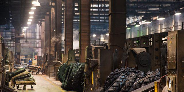 Tire manufacturing plant floor