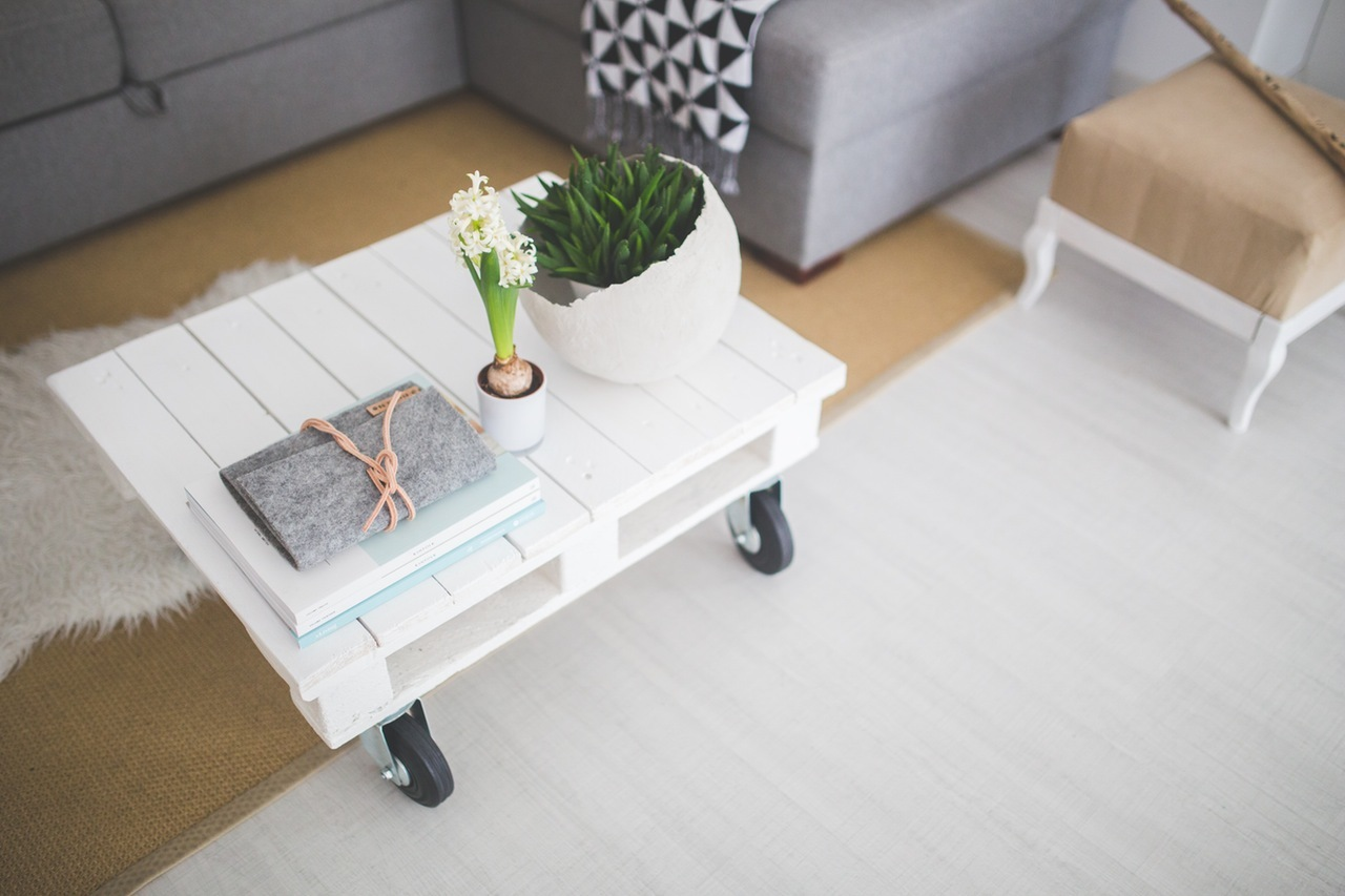 white-table-furniture-casters
