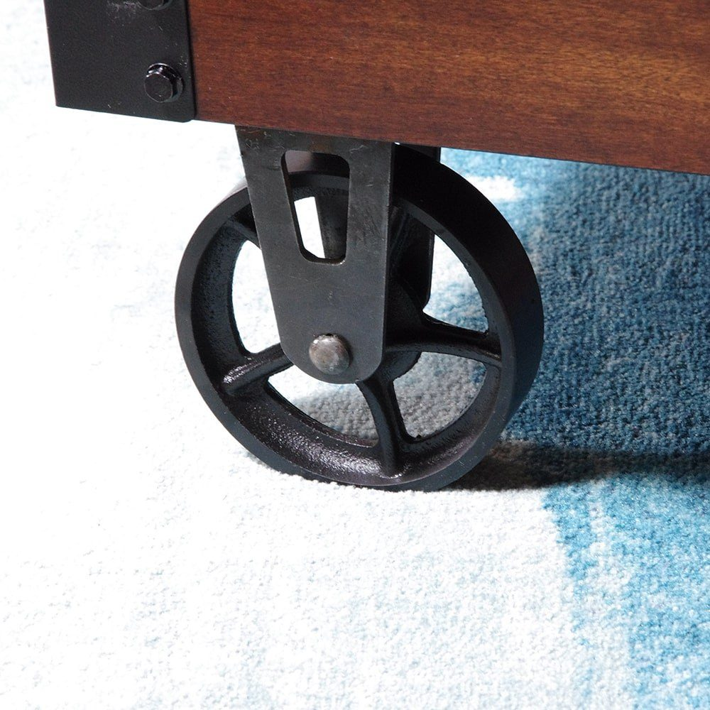 SQ Industrial Vintage Coffee Table Cast Iron Caster 12