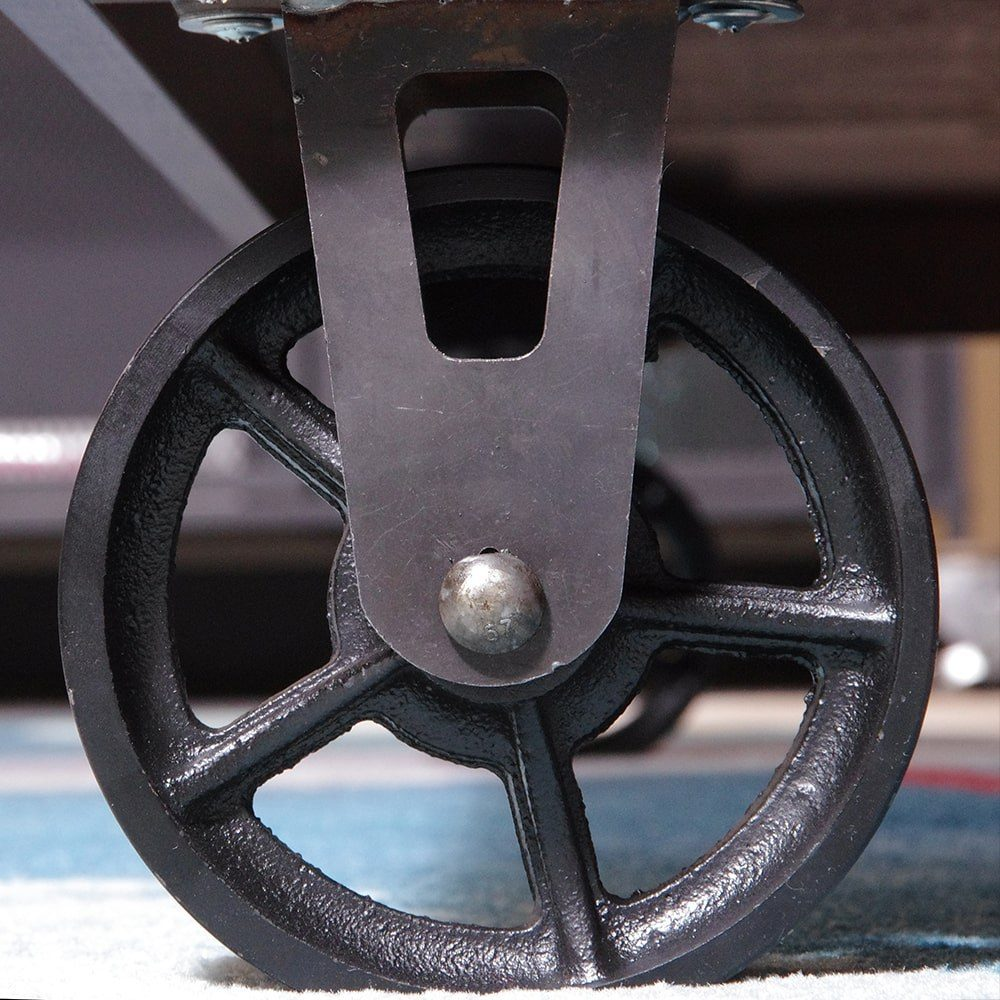 SQ Industrial Vintage Coffee Table Cast Iron Caster 14