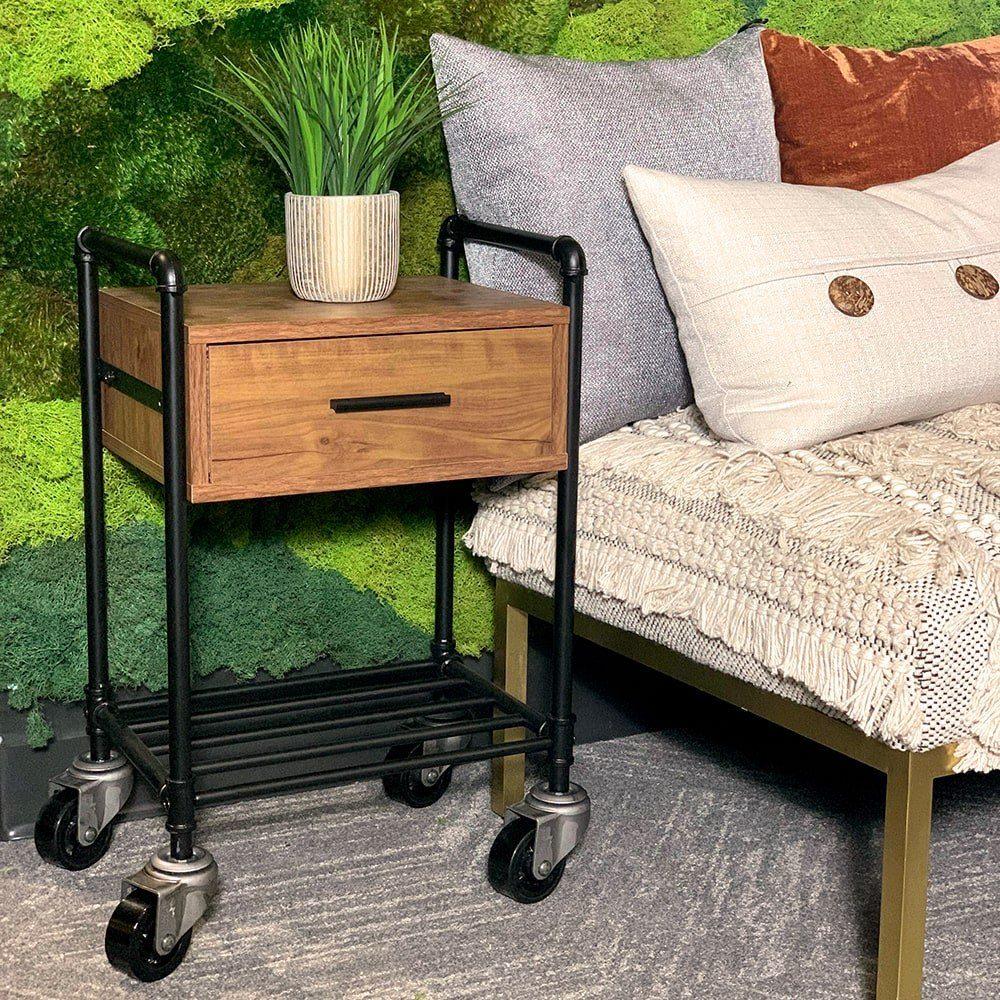 SQ Industrial Vintage End Table Polyurethane Tread Swivel Caster 1
