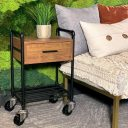SQ Industrial Vintage End Table Polyurethane Tread Swivel Caster 1 Thumbnail